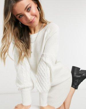 Трикотажное платье-джемпер цвета слоновой кости -Белый BB Dakota