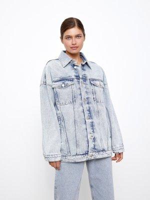 Куртка джинсовая на подстежке 12STOREEZ. Цвет: светло-голубой