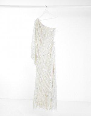 Кремовое платье макси с пайетками и бахромой на одно плечо -Белый Goddiva