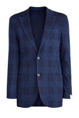 Пиджак из хлопка в клетку с карманами неаполитанском стиле ELEVENTY. Цвет: синий