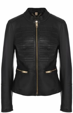 Приталенная кожаная куртка на молнии Burberry. Цвет: черный
