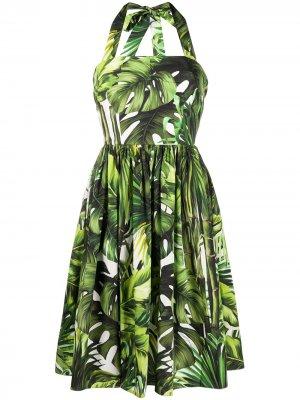 Платье с вырезом халтер и принтом Dolce & Gabbana. Цвет: зеленый