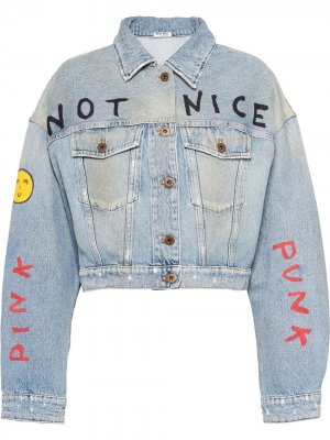 Джинсовая куртка с вышивкой Miu. Цвет: синий