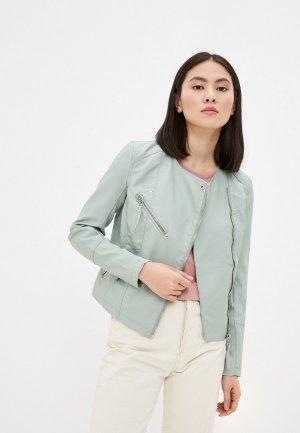 Куртка кожаная Vero Moda. Цвет: бирюзовый
