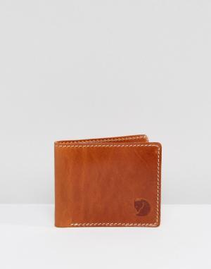 Кожаный бумажник Ovik Fjallraven. Цвет: рыжий