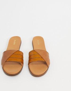 Кожаные шлепанцы коньячного цвета -Светло-коричневый ALDO