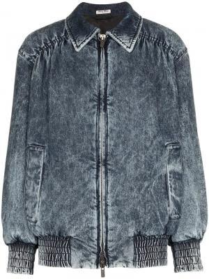 Джинсовая куртка-бомбер Miu. Цвет: f0008 blue