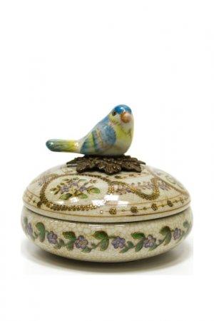 Шкатулка с птичкой ГЛАСАР. Цвет: бежевый