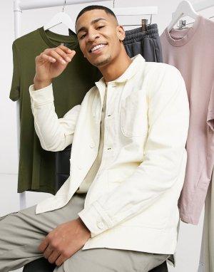 Кремовая рубашка навыпуск из органического хлопка -Белый Knowledge Cotton Apparel