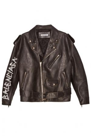Черная кожаная куртка с логотипом Balenciaga. Цвет: черный