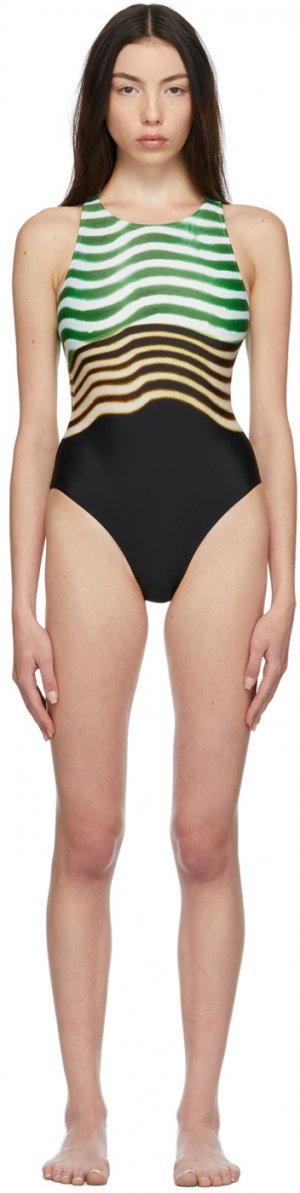 Tricolor Greta One-Piece Swimsuit Dries Van Noten. Цвет: 604 green