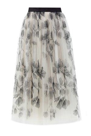 Юбка-макси из вуали с вышитым принтом ручной работы BRUNELLO CUCINELLI. Цвет: мульти