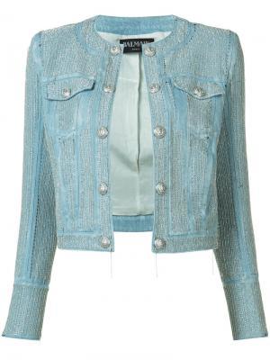 Укороченная джинсовая куртка с декором Balmain. Цвет: синий