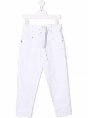 Прямые брюки с поясом Pinko Kids. Цвет: белый