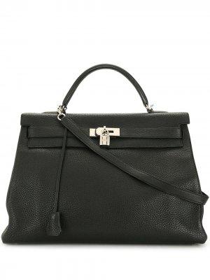 Сумка Kelly 40 pre-owned Hermès. Цвет: черный