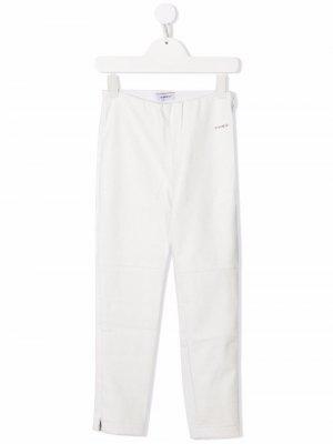 Прямые брюки с завышенной талией Pinko Kids. Цвет: белый