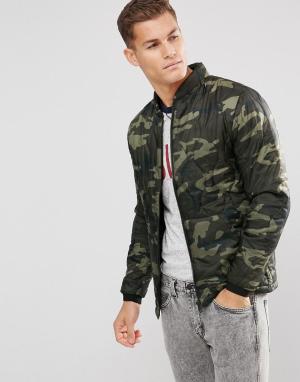 Куртка с камуфляжным принтом -Зеленый Esprit