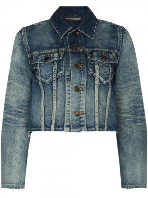 Укороченная джинсовая куртка Saint Laurent. Цвет: синий
