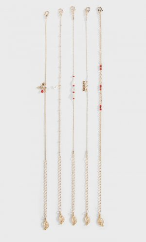 Набор Из 5 Браслетов На Щиколотку С Жемчугом Женская Коллекция Желтый 103 Stradivarius. Цвет: желтый