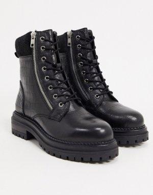 Черные кожаные походные ботинки на шнуровке -Черный Dune