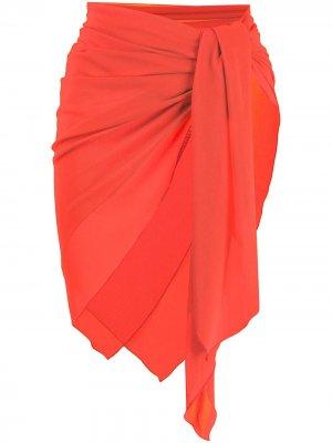 Полупрозрачный саронг с завязками Fisico. Цвет: оранжевый