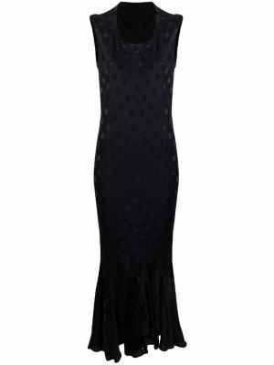 Платье без рукавов с узором в горох Haider Ackermann. Цвет: черный
