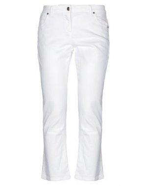 Джинсовые брюки-капри BRUNELLO CUCINELLI. Цвет: белый