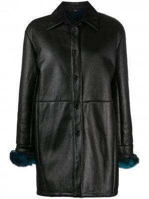 Пальто 1990-х годов с меховыми манжетами Gianfranco Ferré Pre-Owned. Цвет: черный