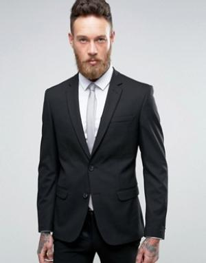 Черный приталенный пиджак New Look