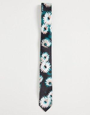 Галстук с цветочным принтом -Черный цвет Bolongaro Trevor