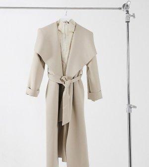 Светло-бежевое приталенное пальто с большим воротником ASOS DESIGN Petite-Коричневый Petite