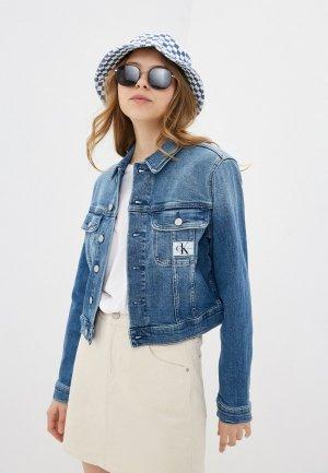 Куртка джинсовая Calvin Klein Jeans. Цвет: голубой