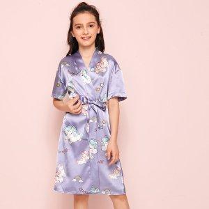 Атласный халат с мультяшным принтом для девочек SHEIN. Цвет: пурпурный