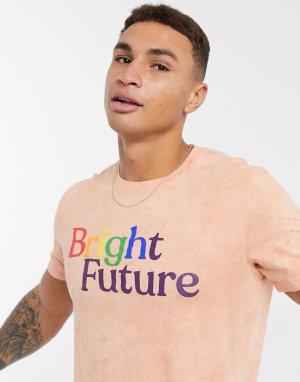 Коралловая футболка с принтом -Розовый Abercrombie & Fitch