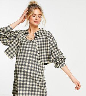 Клетчатое платье-рубашка мини с длинными рукавами и пиджаком ASOS DESIGN Maternity-Черный цвет Maternity