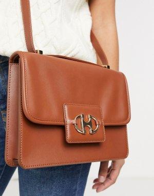 Светло-коричневая сумка-портфель в стиле 70-х с фурнитурой виде трензеля -Коричневый цвет ASOS DESIGN