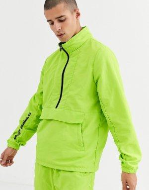 Неоново-зеленая нейлоновая куртка-пуловер от комплекта -Зеленый Criminal Damage