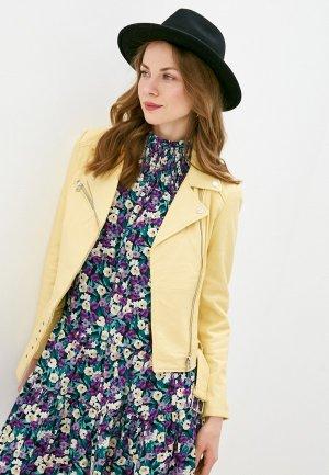 Куртка кожаная Снежная Королева PN30S20/4. Цвет: желтый