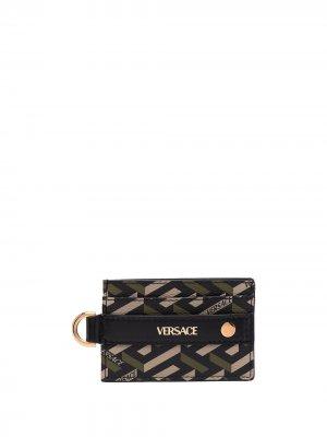 Картхолдер с логотипом Versace. Цвет: зеленый