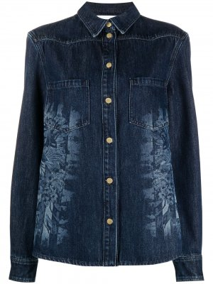 Джинсовая куртка с эффектом разбрызганной краски Alberta Ferretti. Цвет: синий