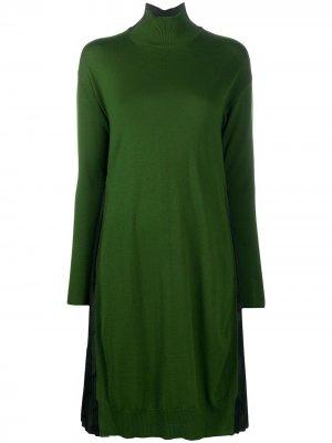 Платье с плиссированными вставками Pierantoniogaspari. Цвет: зеленый