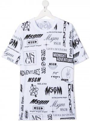 TEEN logo-print short-sleeved T-shirt Msgm Kids. Цвет: белый
