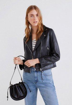 Куртка кожаная Mango - PERFECT5. Цвет: черный