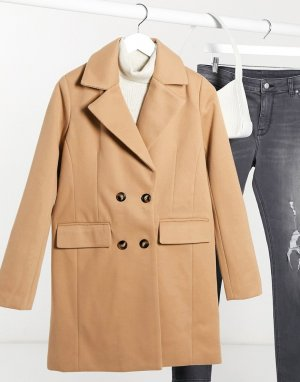 Двубортное пальто-бушлат -Бежевый Fashion Union