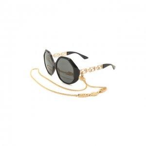 Солнцезащитные очки и цепочка Versace. Цвет: чёрный