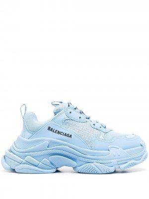 Кроссовки Triple S на шнуровке Balenciaga. Цвет: синий