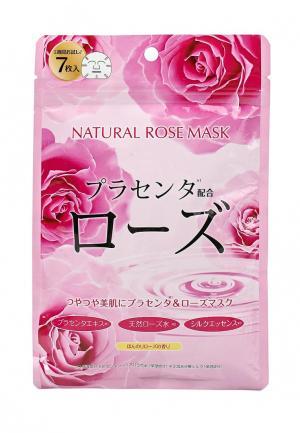Набор масок для лица Japan Gals натуральных с экстрактом розы, 7 шт