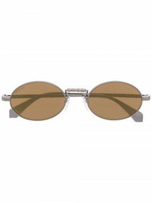 Солнцезащитные очки в овальной оправе Off-White. Цвет: коричневый