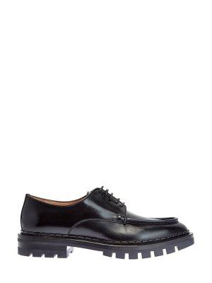 Ботинки-дерби из гладкой полированной кожи SANTONI. Цвет: черный