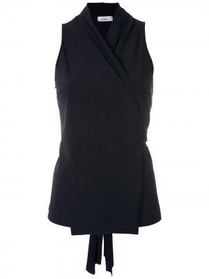 Блузка с запахом и завязками Amir Slama. Цвет: черный